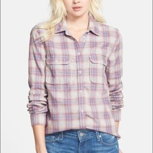 PAIGE Trudy Sea Blue Plaid Long Sleeve Button Down